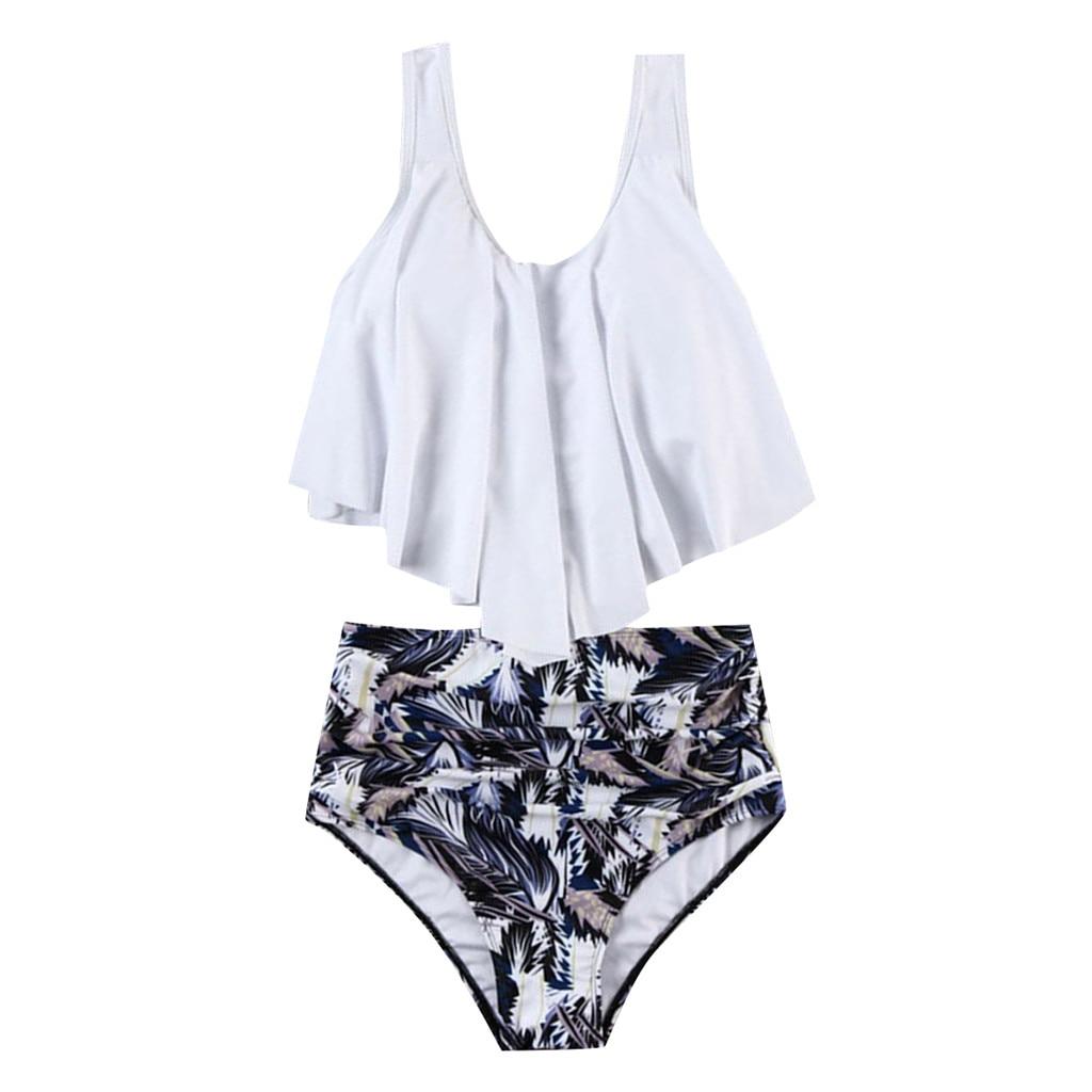 HTB1ouuPLNYaK1RjSZFnq6y80pXau Women's Swimming Suit Sexy Bikini Swimsuit Women Swimwear 2PCS Bathing Suits Top Ruffled With High Waisted Bottom Bikini Set