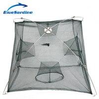 BlueSardine Vente 100 cm * 100 cm Grand De Pêche Filet à Crevettes Cage 4 Trous Fish Net Nylon