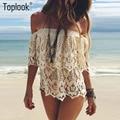Toplook Gola de Babados Sexy Strapless Lace Blusa Camisas de Manga Curta Oco Out Praia Fora Do Ombro Tendência Branco Encabeça Verão