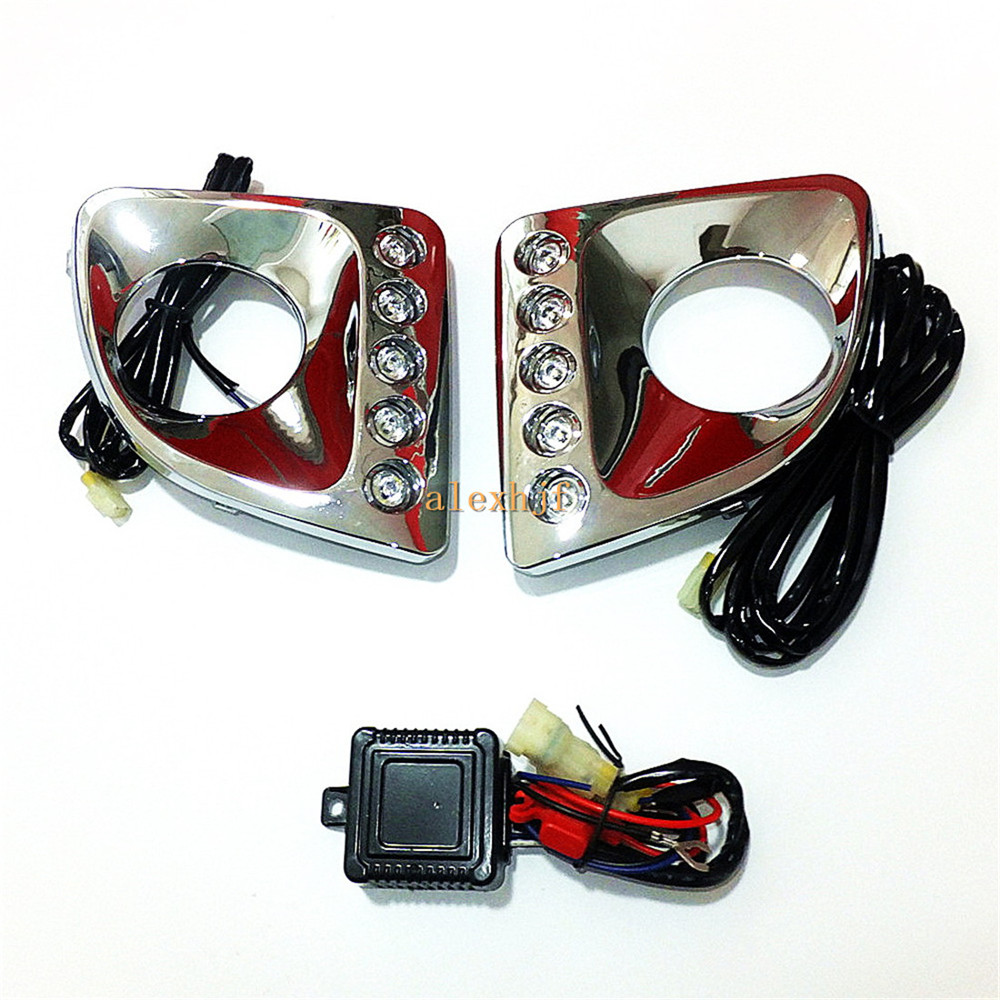 July King LED Daytime Running Lights DRL With Fog Lamp Cover, LED Fog Lamp Case for Chery Tiggo 2005~13 1:1 Rplacement цена и фото