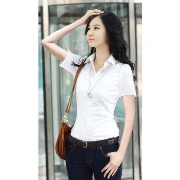 2020 Fashion Women's OL Shirt Long Sleeve Turn-down Collar Button Lady Blouse White Black Short Sleeve Tops 2