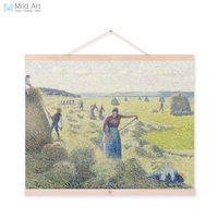 Camille Pissarro Ray Harvest Landscape Wooden Framed Famous Canvas Oil Painting Living Room Home Decor Wall Art Pictures Scroll