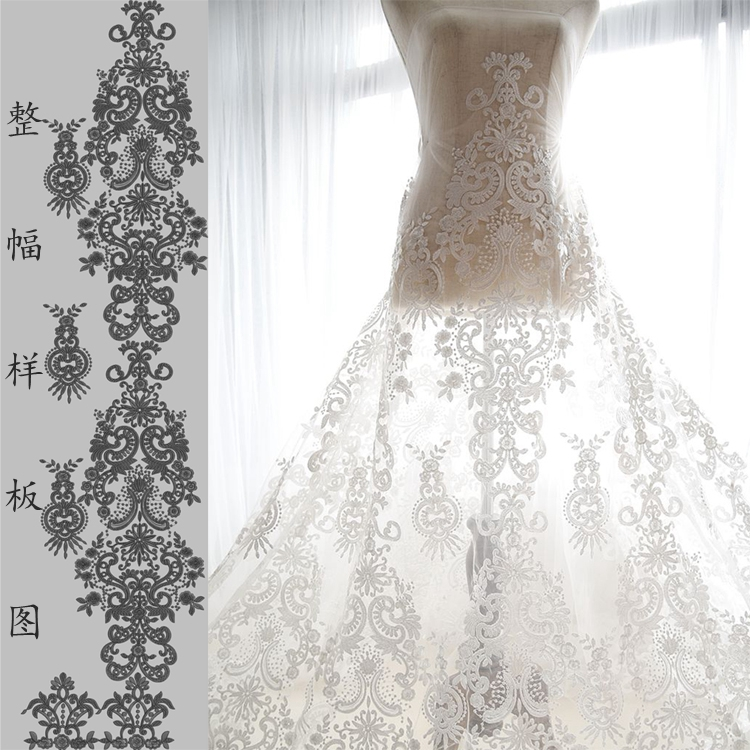 Wedding Gown Fabrics Guide: 150*100cm Bilateral Symmetry Oganza Flower Embroidery Lace