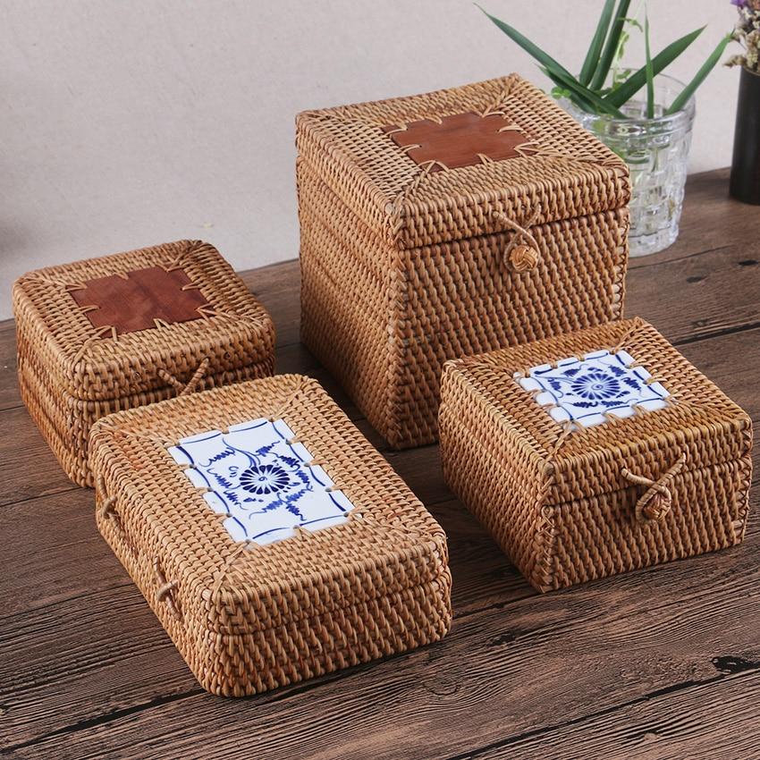 Caja de almacenamiento de cajas de té con tapa de ratán Puerh hecho a mano tejido de madera organizador Misceláneos Contenedores de especias de bloqueo fácil Cocina Deco