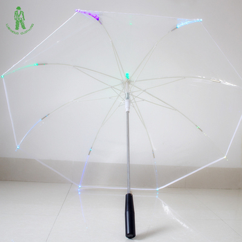 Free Shipping 4pcs/lot Changing Color LED Luminous Umbrella Colorful Flashlight Transparent Handle Straight LED Parasol Umbrella