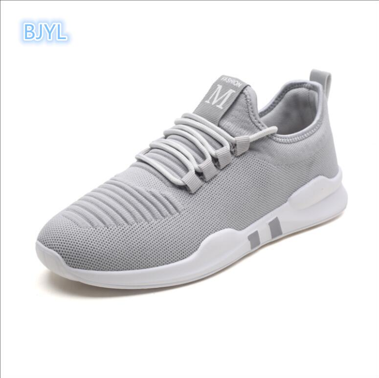 BJYL 2018 new mens shoes summer breathable trend casual flying weaving net canvas