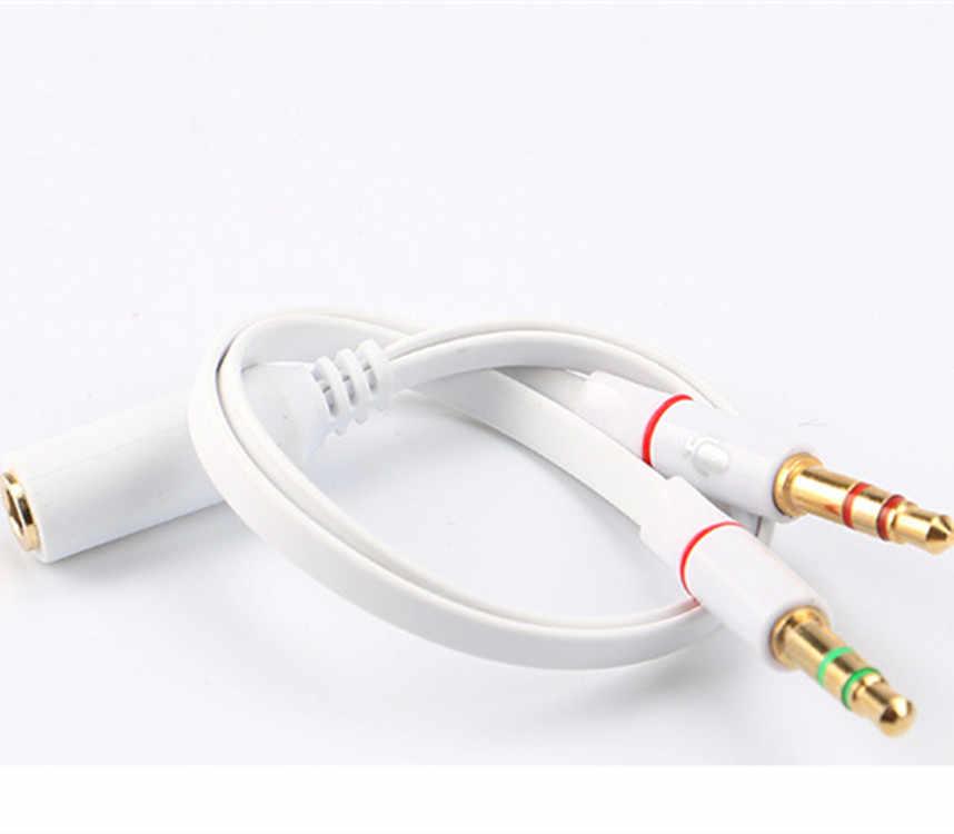 3.5mm 1 żeński do 2 męski podłączone słuchawki kabel do słuchawek mikrofon Y przejściówka rozgałęziająca przewód do laptopa PC czarny lub biały