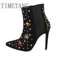 2017 Autumn Brand New High Quality Fashion Velvet Pointed Toe Metal Rivet Side Zipper High Heel