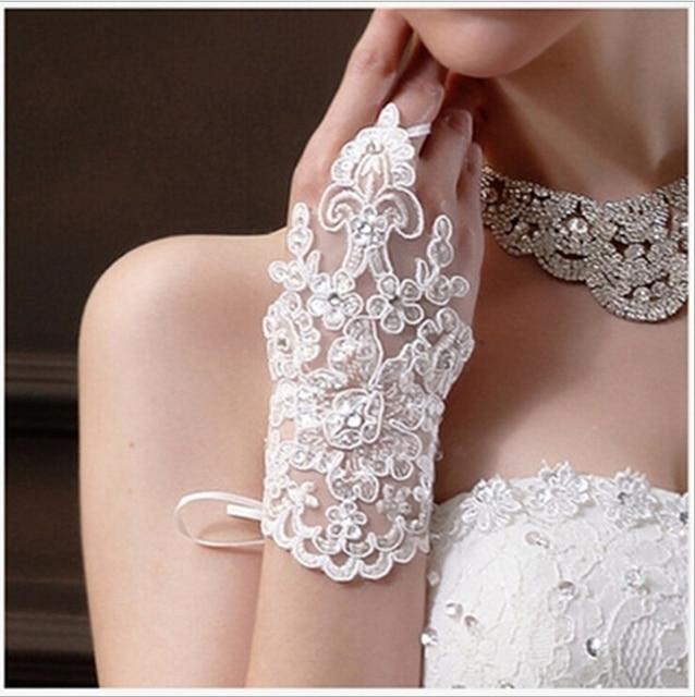 17 CM muñeca sin dedos mujeres de encaje de novia guantes blancos ...