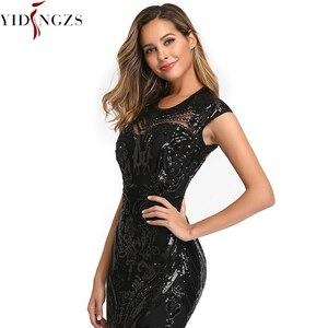 Image 3 - YIDINGZS אלגנטי שחור פאייטים שמלת ערב 2020 ללא משענת חרוזים ארוך ערב המפלגה שמלת YD088