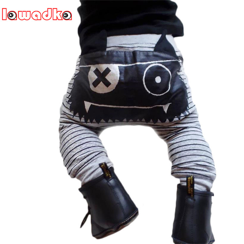Lawadka Cartoon Harem Pants Casual Cute Kids Baby Boys Girls Bottoms Monster Trousers Baby Boy Pants