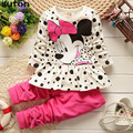 2017 New Girls Clothing Set Dot T-shirt + Leggings Suit 2pcs/set Casual Long-sleeved Autumn Warm Cotton Cartoon Baby Girls Suit
