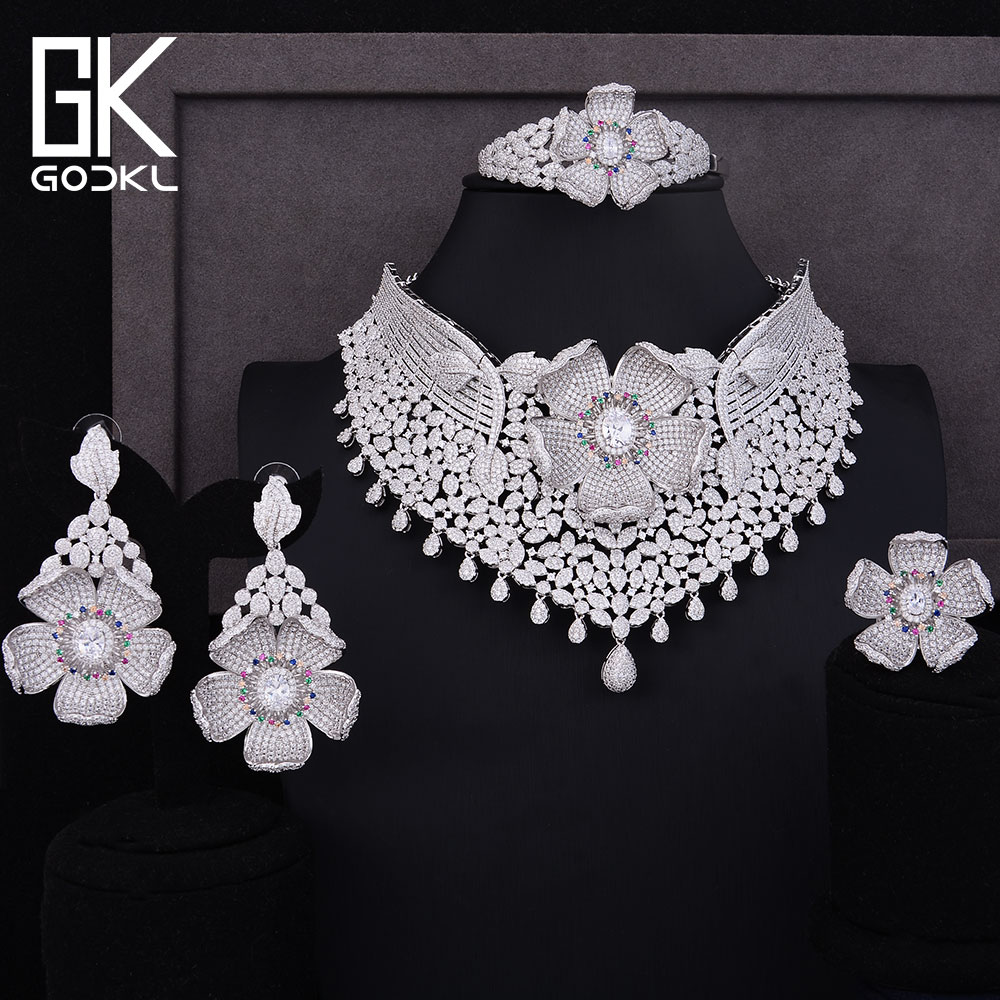 GODKI Luxury Cubic Zircon Nigerian Jewelry sets For Women wedding  Indian Necklace Earrings sets Silver bridal jewelry sets 2018GODKI Luxury Cubic Zircon Nigerian Jewelry sets For Women wedding  Indian Necklace Earrings sets Silver bridal jewelry sets 2018