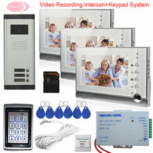 Video Intercom With Recording Outdoor Camera 3 Buttons + 3 Monitors Home Video Door Phone 7 inches  Keypad Access Control System