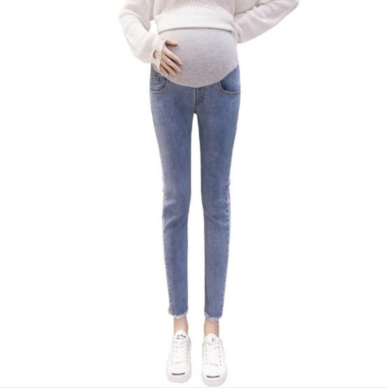 2019 Spring New Maternity Jeans Pregnancy Stomach Lift Pants Waist Adjustable Feet Nine Pants Overalls For Pregnant Women