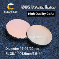 Cloudray GaAs Focus Lens Dia. 19.05 / 20mm FL 50.8 63.5 101.6mm 1.5 4 High Quality for CO2 Laser Engraving Cutting Machine