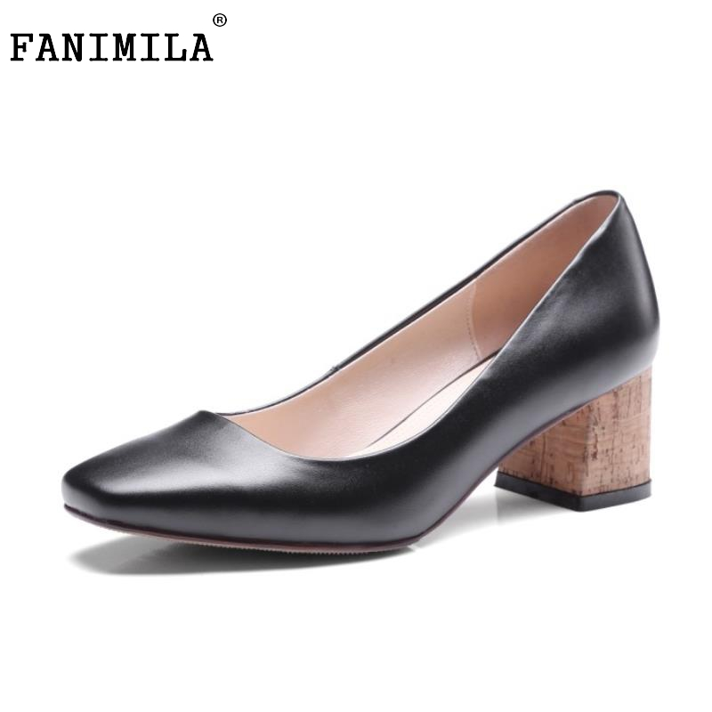 Ladies Geniune Leather High Heels Shoes Women Pure Color Square Toe Thick Pumps Classic Sexy Office Lady Footwears Size 34-39 women s geniune leather high heels shoes women pointed toe pure color high heeled pumps office lady sexy footwear size 33 40