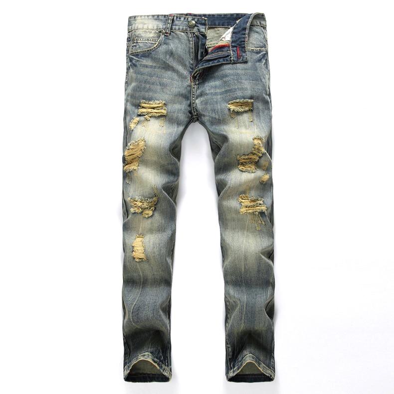 Men Denim Ripped Jeans Night Club Jeans Men Hip hop Cowboy Trousers High Quality Cotton Men's Fashion Wash Street Jeans Pants men s cowboy jeans fashion blue jeans pant men plus sizes regular slim fit denim jean pants male high quality brand jeans