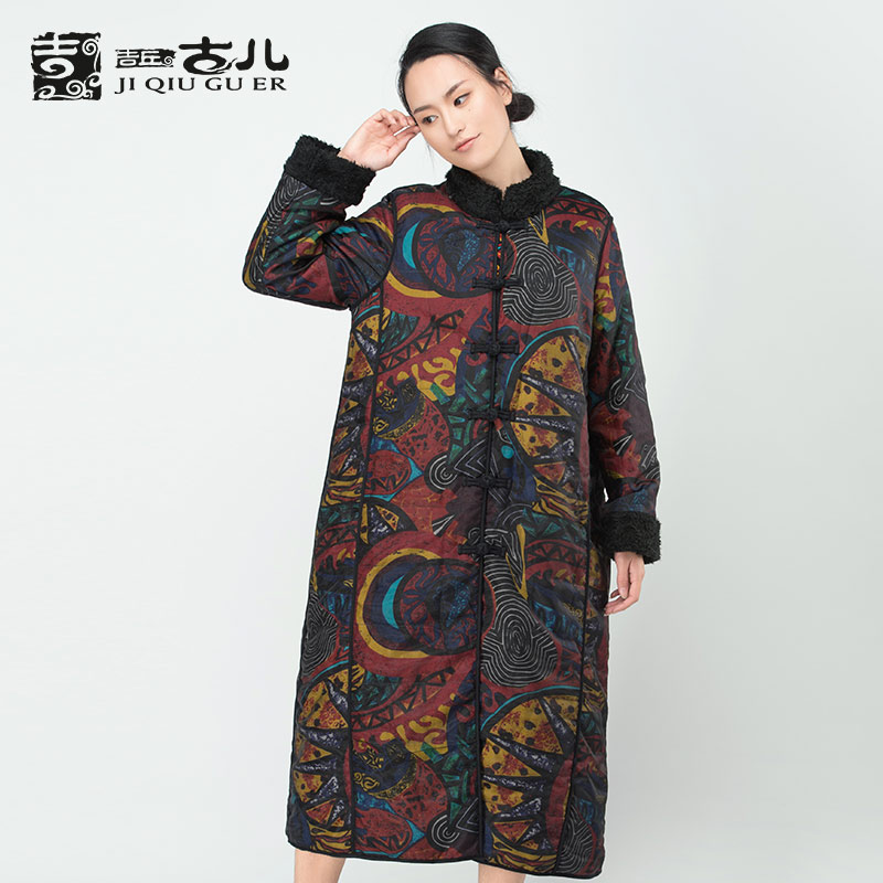 Jiqiuguer Design Vintage Spliced Printed Floral Women Coat Single Breasted Long Sleeve Stand Collar Lady Winter Jacket G164Y010