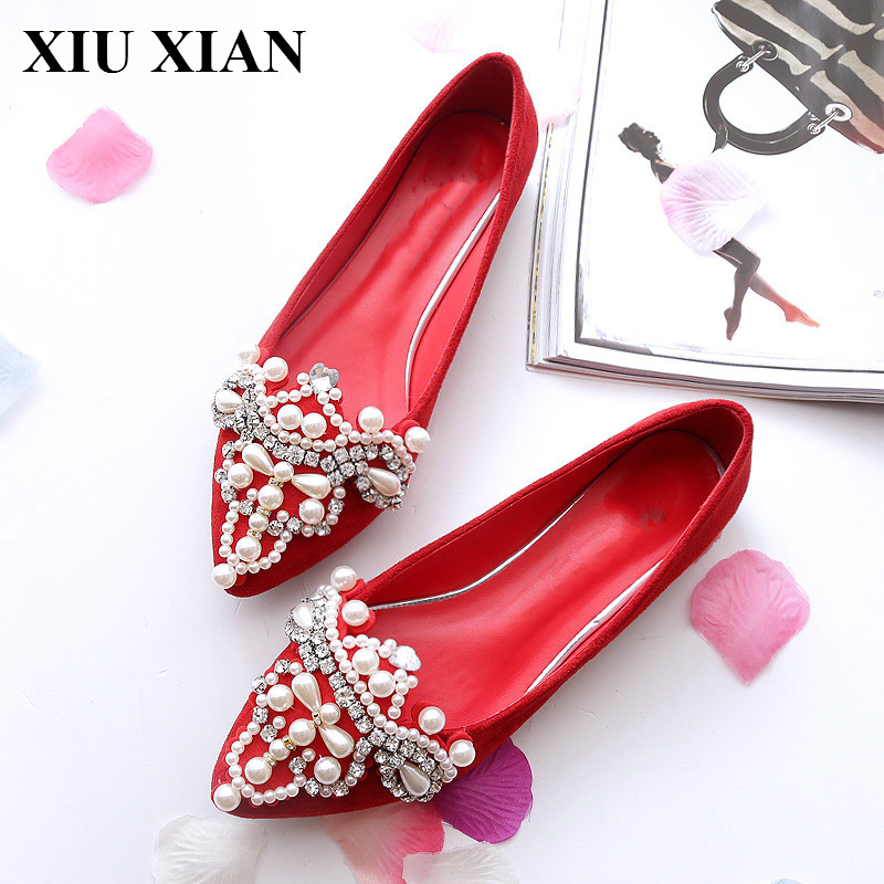 Flat Women New Arrival Summer Red Pointed Toe Flats Crystal Breathable Slip on Ladies Ballet Flats Black Soft Loafer Single Shoe spring summer women flat ol party shoes pointed toe slip on flats ladies loafer shoes comfortable single casual flats size 34 41