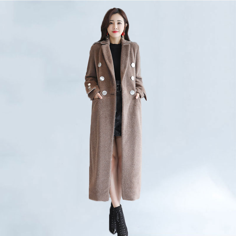 Winter Warm Women Maxi Long Overcoat Female Double Breasted Military Woolen Blends Coat Ladies Work Thick Windbreaker Trench 622