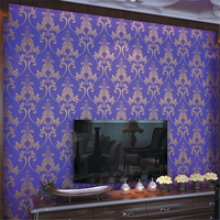 3D PVC Vinyl Puple Wallpaper Waterproof Desktop Vintage Damask Wallpaper For Living Room Of Wall Paper
