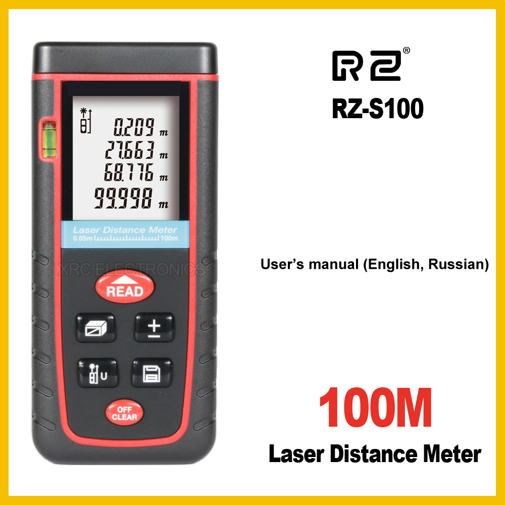 RZ RZ-S100 100M Laser Distance Meter Rangefinder Range Finder Electronic Ruler Digital Tape Measure Area volume Tool Bubble free delivery level 24 in lightweight hard plastic 3 bubble triple ruler measure tool