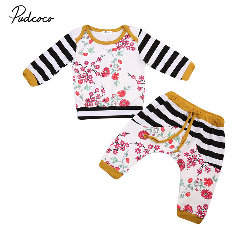 2PCS Toddler Kids Baby Girls Clothes New Style Autumn Floral Long Sleeve Tops+Long Pant Warm Baby Clothing Set