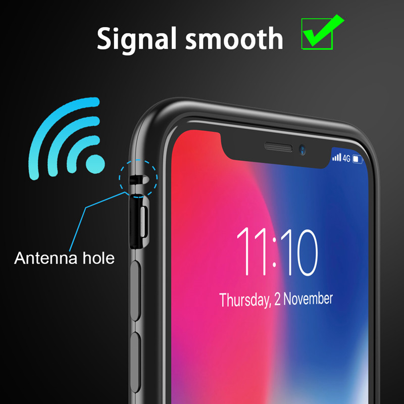 GETIHU Metal Magnetic Case For IPhone 11 Pro Max XR XS MAX X + Tempered Glass Magnet Case Cover For IPhone 8 7 6 6s S Plus Case