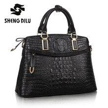 Noble sac à main shengdilu marque nouveau 2017 femmes véritable fourre-tout en cuir Alligator épaule Messenger sac livraison Gratuite