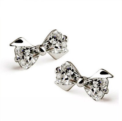 high quality Silver Plated earrings cute Bow crystal stud earrings for women wholesale