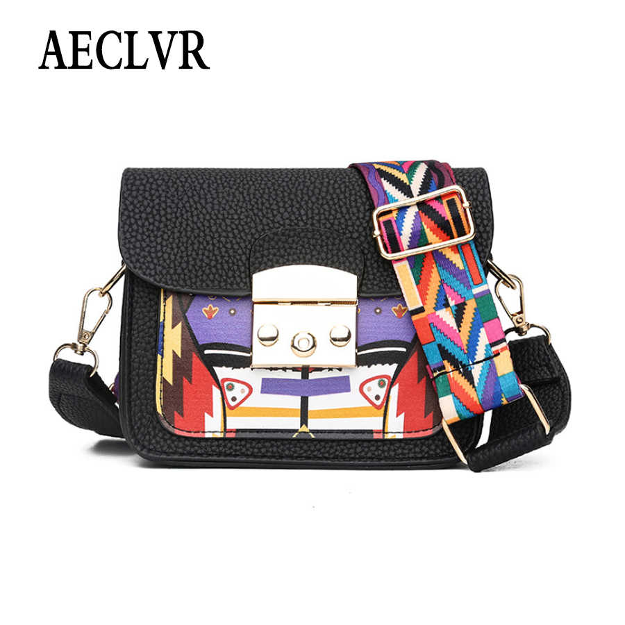 dff8ab00ea0e AECLVR Creative Printing Pu Leather Women Crossbody Bags Beautiful Colorful  Wide Strip Shoulder Bag All-Match Ladies Flap