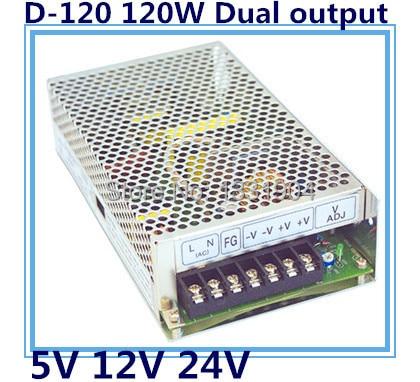 new original AC to DC LED dual output switching power supply D-120, 120W AC input, output voltage DC 5V 24V transformer led control voltage transformer power supply 24v 5a 120w input ac 100v 240v output dc 24v for led strip