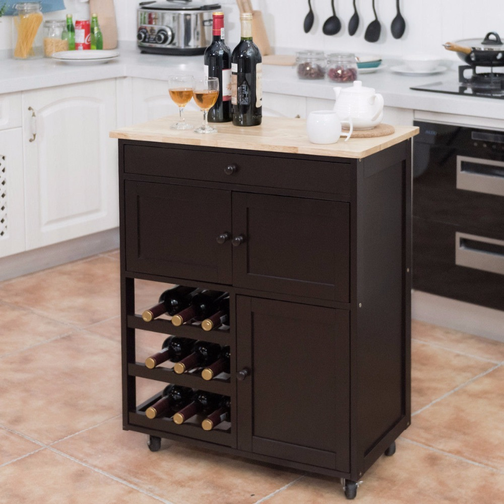 Rolling Kitchen Cart Trolley Island 3 Storage Cabinets and Wine Rack
