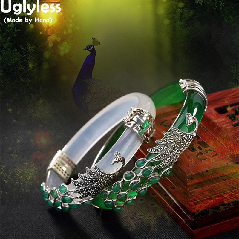 Uglyless Real 925 Sterling Silver Bangles for Women Thai Silver Animal Chalcedony Peacock Bangles Jade Creative