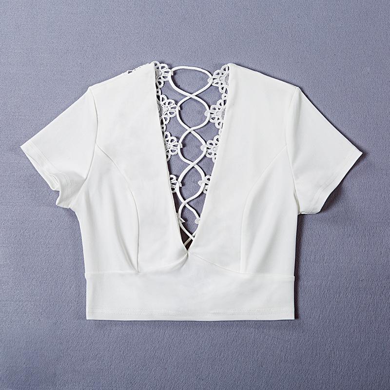Lace Up Back Sexy T-shirt, Crisscross Fashion T- shirt, Summer Crop Top 19