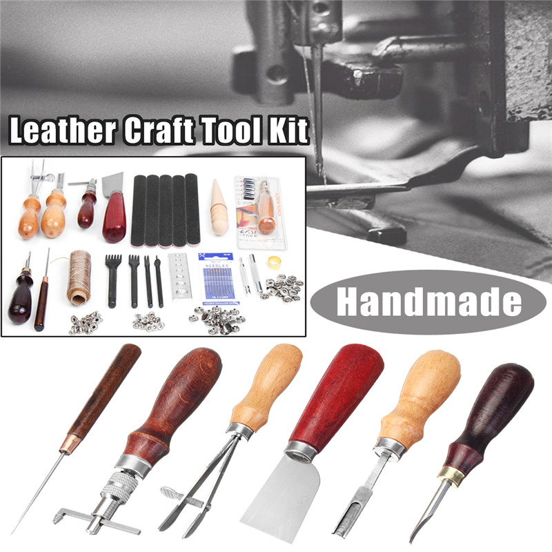 High Quality  35Pcs/Set DIY Leather Craft Tool Set Stitching Carving Working Sewing Handmade Leather Goods Hand Sewing Set 5pcs set needle files kit carving jewelry diamond glass stone wood craft tool s018y high quality