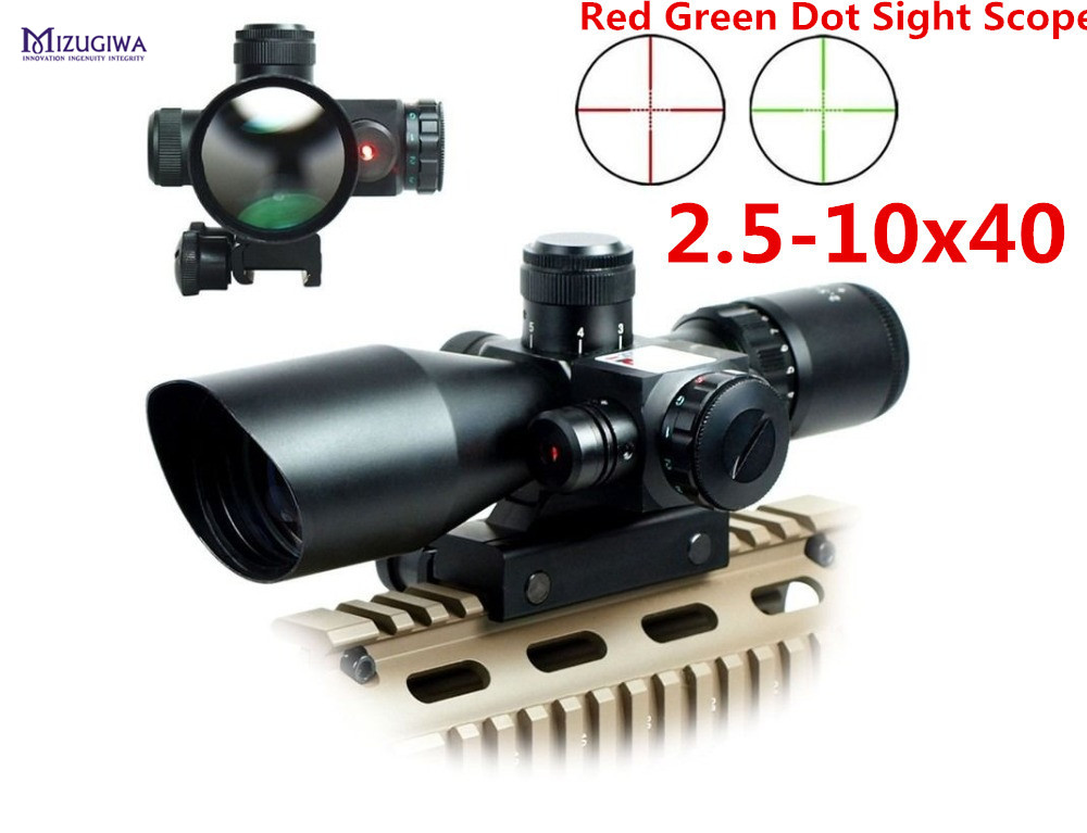 MIZUGIWA Tactical 2.5-10x40 Riflescope Red Green Dual illuminated Mil-dot Rifle Scope with Red Laser Sight Hunting Airsoft 20mm 2 5 10x40 air rifle scope reticle red green dot mil dot dual illuminated sight with red laser w rail mount airsoft gun hunting