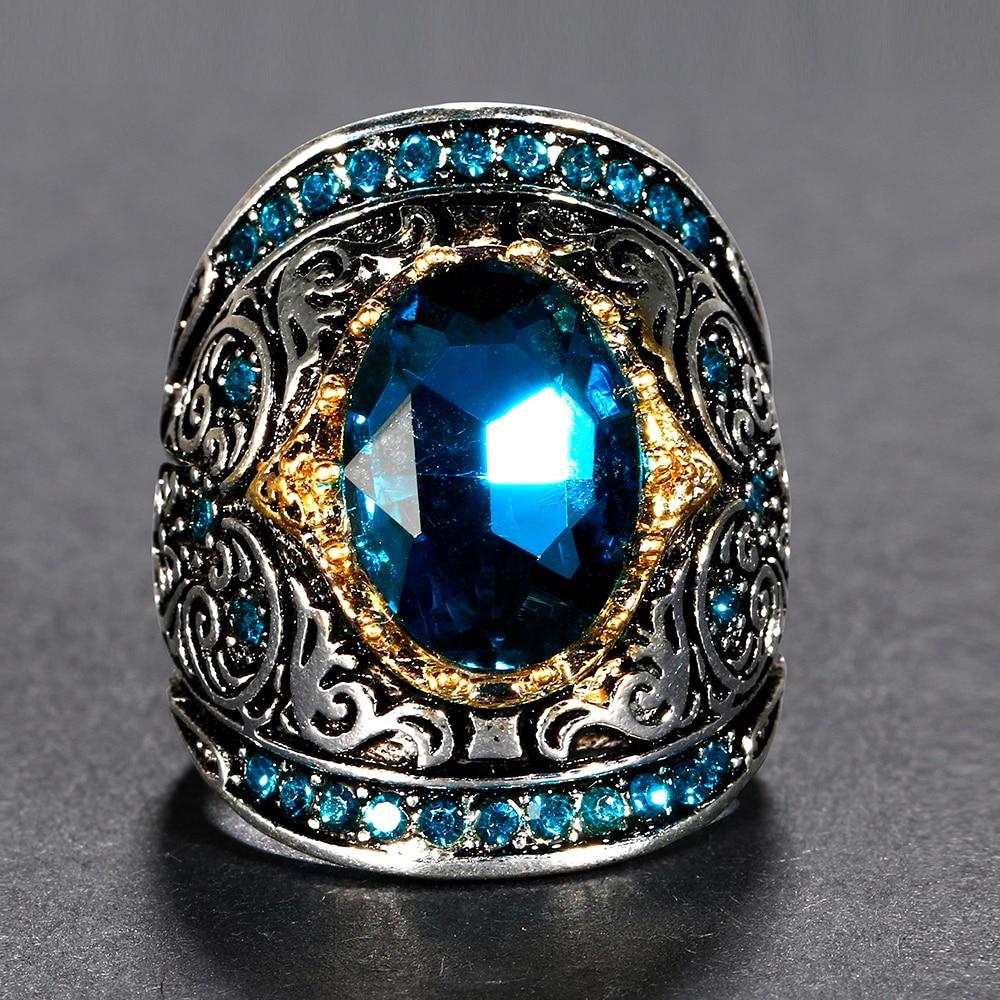 HTB1ouwyajDuK1Rjy1zjq6zraFXaC Nasiya Peacock Blue Gemstone Rings For Women Men's Aquamatine 925 Silver Jewelry Ring Vintage Gift for Mother Grandmother