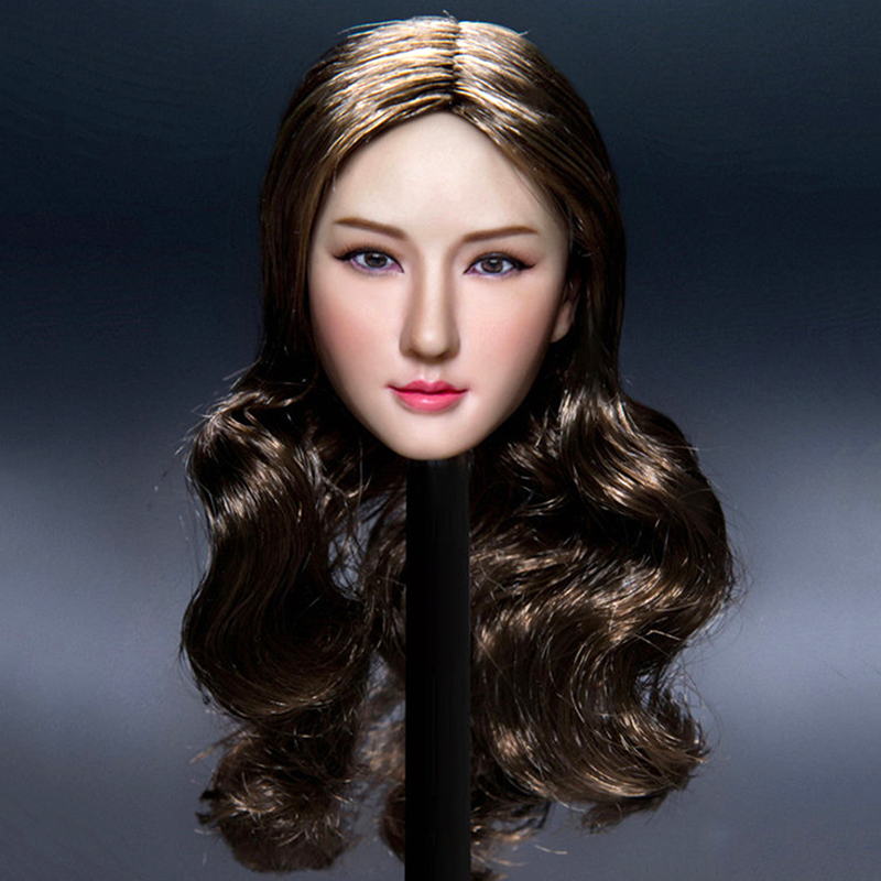 Collectibles Female Head Carving 1/6 Flirty Girl Asian Beauty Planted Hair 12 Suntan color seemless body Action Figure