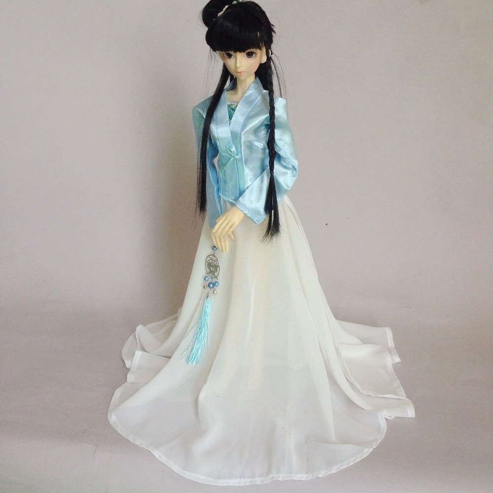 699# Blue&White Chinese Classical Dress 1/4 MSD DZ AOD BJD Dollfie 699 blue ancient costume dress outfit for 1 4 msd aod dod dz bjd dollfie
