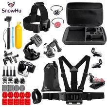 лучшая цена SnowHu For Gopro Hero Y83 Accessories Selfie stick Trochal disk Survival tube Chest band For Go pro hero 7 6 5 EKEN H9 xiaomi yi