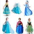 Meninas vestem 2017 snow queen elsa meninas Do Bebê Vestidos de Cosplay Traje da princesa anna Vestido Crianças roupas vestido de Natal Dia Das Bruxas