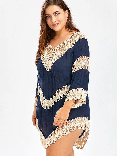95176704ee0 Kenancy Plus Size Sexy Crochet Boho Beach Mini Short Dress Women Clothing  Hollow Out Loose Ethnic
