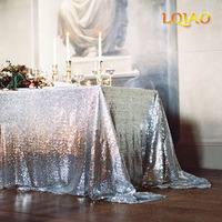 10PCS Rectangle Silver Sequin Tablecloth 90x156inch, Hand Embroidery Designs Christmas Retangle Tablecloth for Decoration