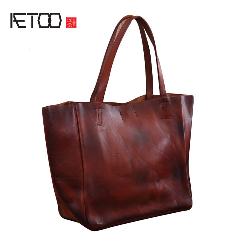 AETOO New Europe and the United States Ms. Fan first layer of leather leather handbag British retro fashion handbags fashion side bang charming short straight dark brown mixed blonde heat resistant synthetic capless wig for women