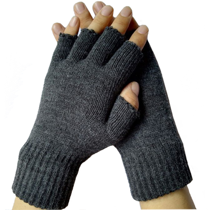 New 2016 Winter Warm Fitness Fingerless Gloves Unisex Womens Mens Gray Solid Knitted Guantes Gym Tactical Work Gloves