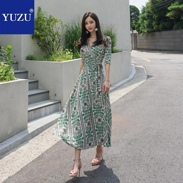 b3ff319e9a55 Maxi Dress Green Floral Print V Neck Half Sleeve Lace Up Long Fall Dresses  For Women