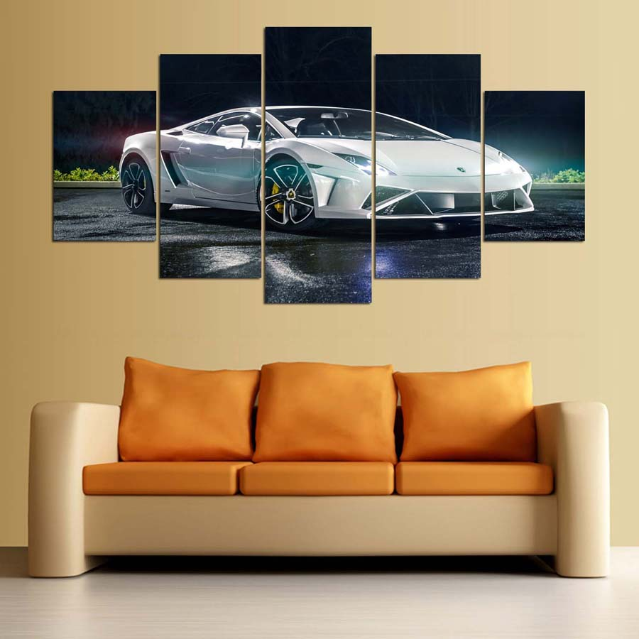 Home Decor Print Canvas Painting 5 Panel Cool Sport Car Vintage Wall ...