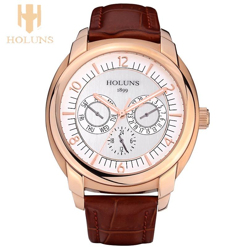 Big dial waterproof automatic digital quartz watch men stainless steel case dress sport simple style Holuns top sale wristwatche